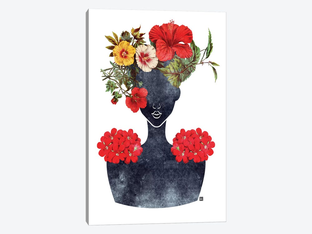 Flower Crown Silhouette I 1-piece Canvas Wall Art
