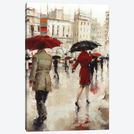 Parting On A Paris Street Canvas Print #ICS728} by Lorraine Christie Art Print