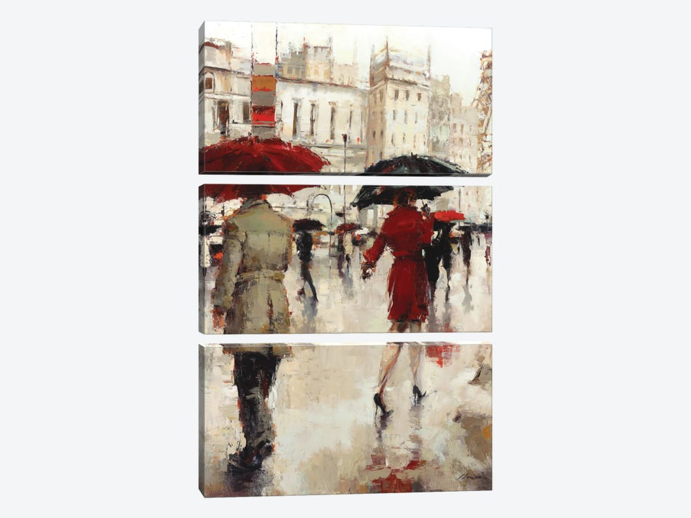 Parting On A Paris Street by Lorraine Christie 3-piece Art Print