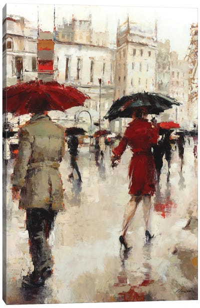 Parting On A Paris Street Canvas Art Print