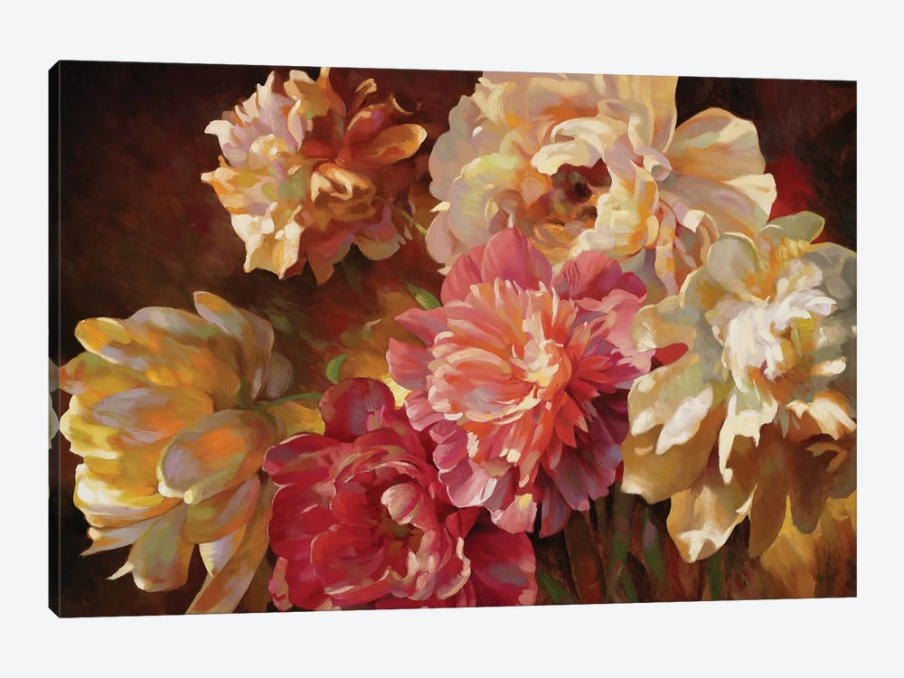 Peonies In Pastel 1-piece Canvas Wall Art