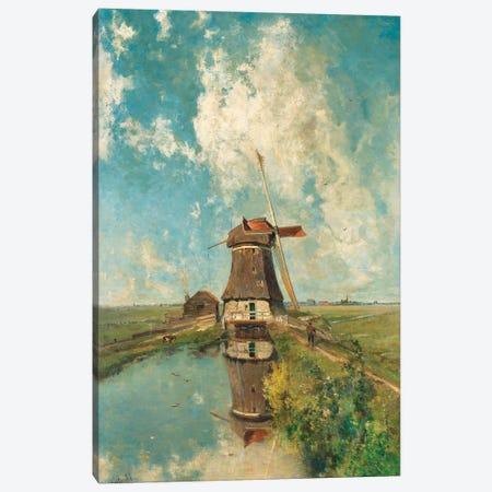 A Windmill on a Polder Waterway, c. 1889 Canvas Print #ICS798} by Paul Joseph Constantin Gabriël Canvas Art