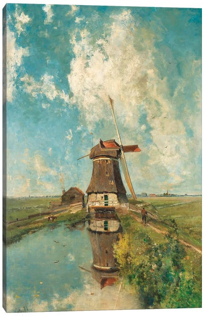 A Windmill on a Polder Waterway, c. 1889 Canvas Art Print