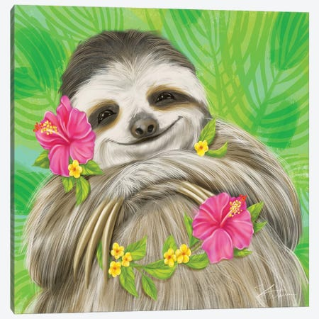 Smiling Sloth Canvas Print #ICS804} by Shari Warren Canvas Print