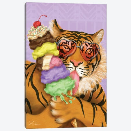 Party Safari Tiger 3-Piece Canvas #ICS827} by Shari Warren Canvas Art Print