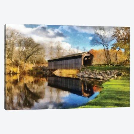 Fallasburg Bridge In Fall Canvas Print #ICS832} by Michelle Calkins Canvas Art Print
