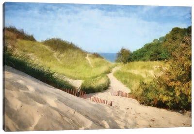 Lake Michigan Coastal Dune Path Canvas Art Print
