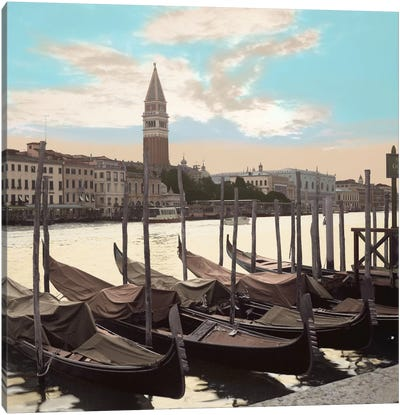 Campanile Vista with Gondolas Canvas Art Print