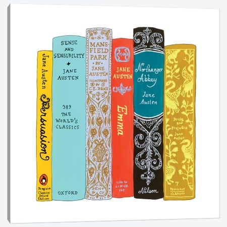 Jane Austen Canvas Print #IDB11} by Ideal Bookshelf Canvas Art