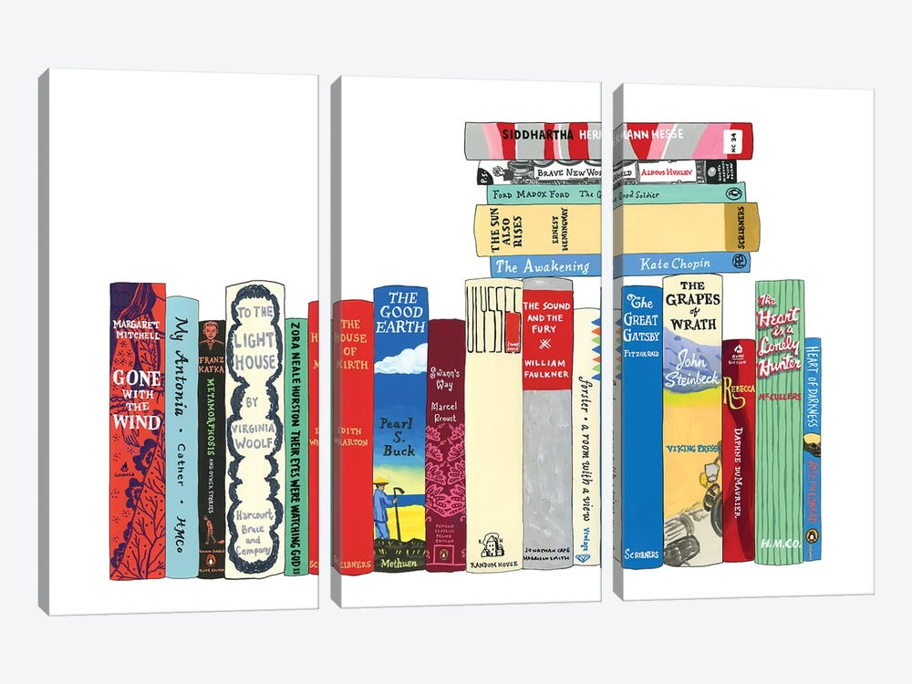 Novels From 1899-1941 by Ideal Bookshelf 3-piece Canvas Print