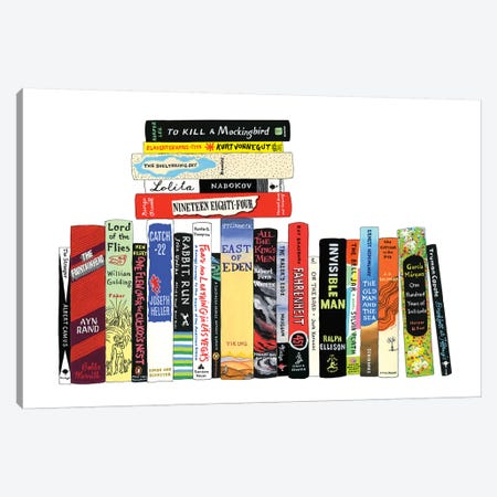 Novels From 1942-1972 Canvas Print #IDB19} by Ideal Bookshelf Canvas Art
