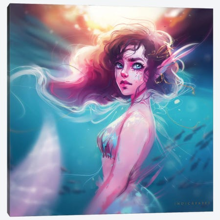 Pink And Blue Mermaid Canvas Print #IDC16} by indicreates Canvas Artwork