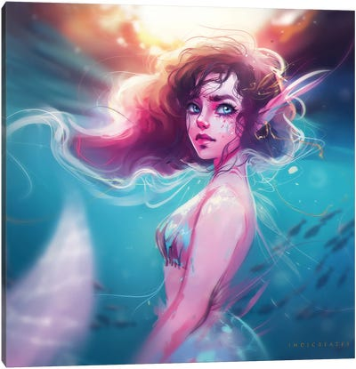 Pink And Blue Mermaid Canvas Art Print