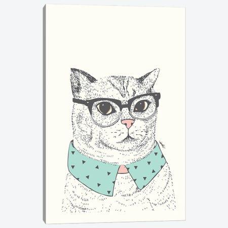 Hipster Cat Canvas Print #IDM14} by Indi Maverick Canvas Wall Art