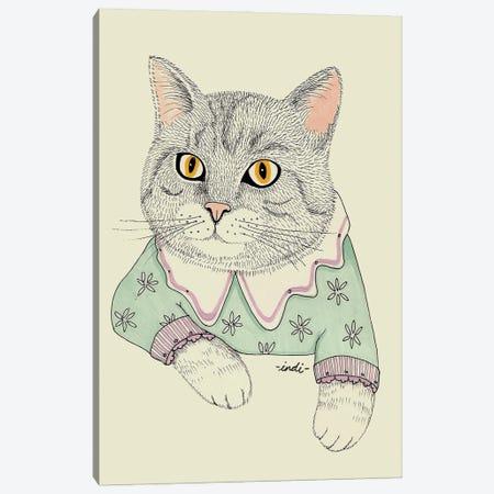 Fancy Cat Canvas Print #IDM15} by Indi Maverick Canvas Wall Art