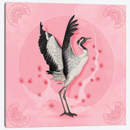 Pink Crane Canvas Print #IDM9} by Indi Maverick Canvas Artwork