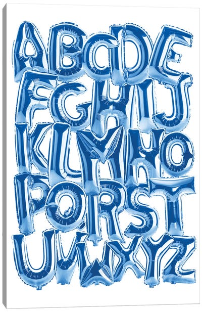 Foil Alphabet Blue Canvas Art Print