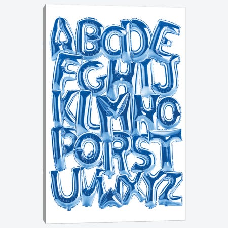 Foil Alphabet Blue Canvas Print #IDR109} by Ink & Drop Canvas Wall Art