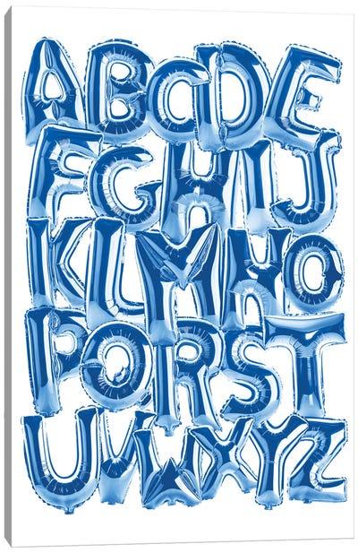 Foil Alphabet Blue Canvas Art Print