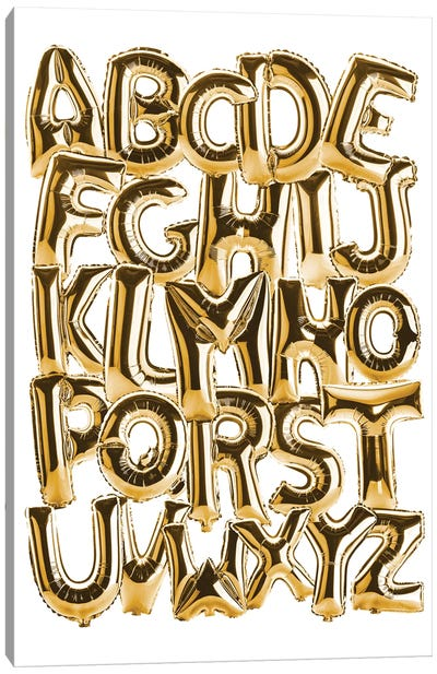 Foil Alphabet Gold Canvas Art Print