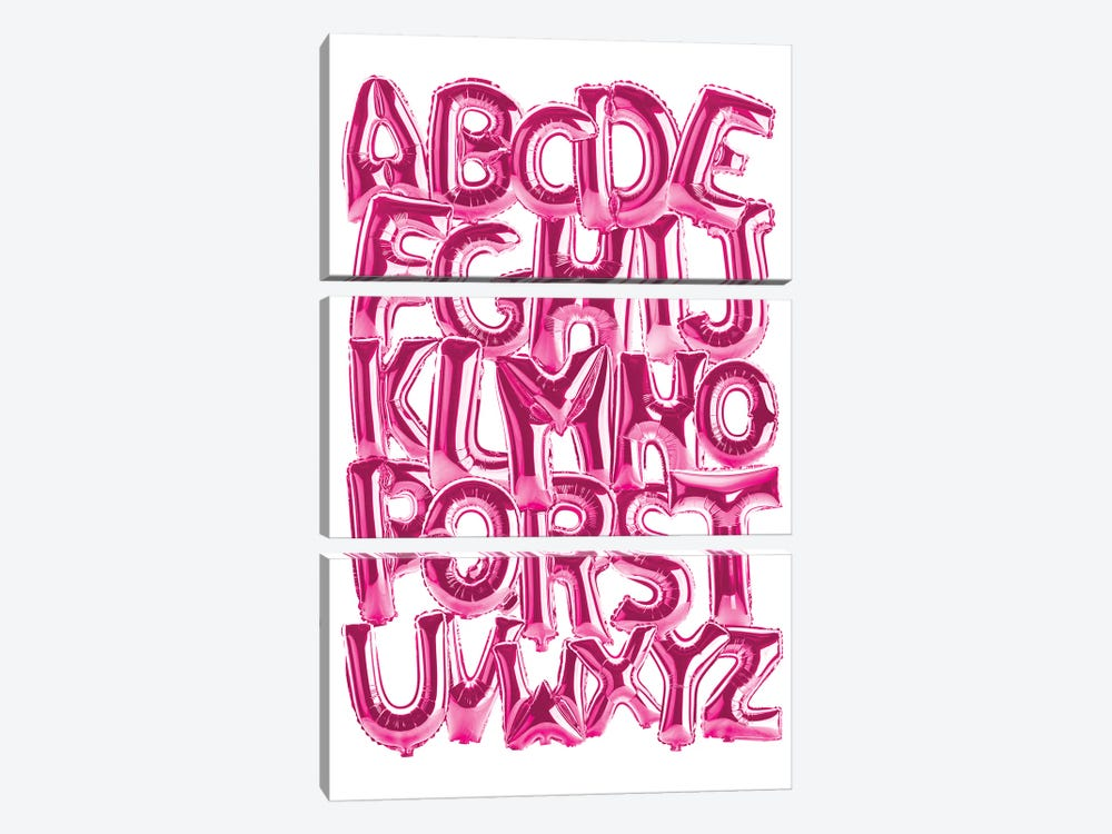 Foil Alphabet Pink by Ink & Drop 3-piece Art Print