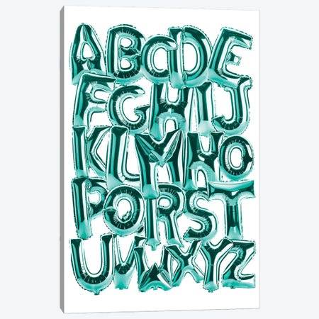 Foil Alphabet Teal Canvas Print #IDR112} by Ink & Drop Canvas Art Print