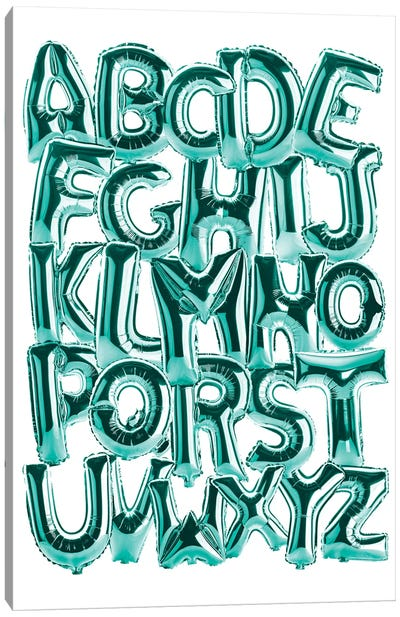 Foil Alphabet Teal Canvas Art Print
