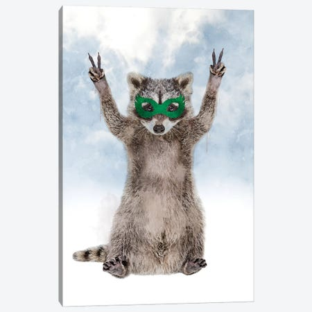 Super Raccoon Canvas Print #IDR122} by Ink & Drop Canvas Art