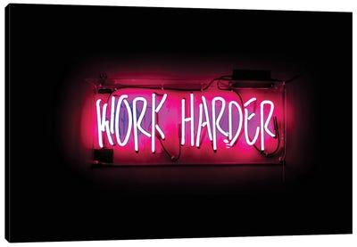 Work Harder Neon Canvas Art Print