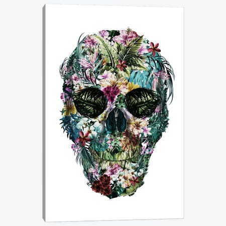Tropical Skull White Canvas Print #IDR38} by Ink & Drop Canvas Artwork