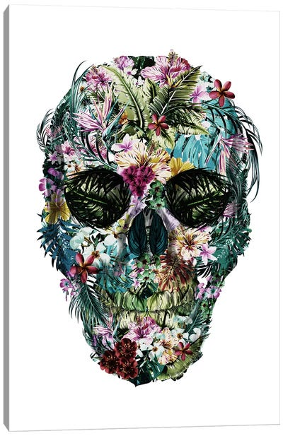 Tropical Skull White Canvas Art Print