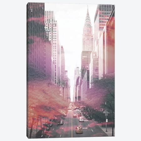 NYC II Pink Canvas Print #IDR42} by Ink & Drop Art Print