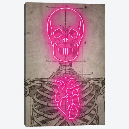 Neon Skull Diagram Canvas Print #IDR49} by Ink & Drop Canvas Art Print