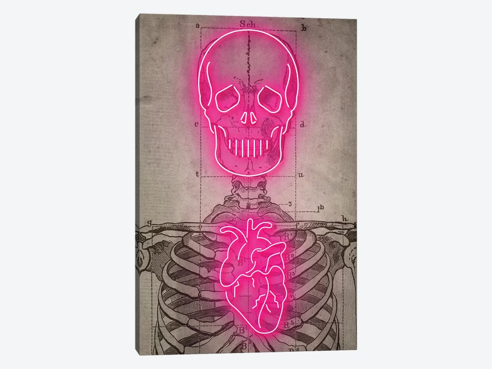 Neon Skull Diagram by Ink & Drop 1-piece Canvas Wall Art