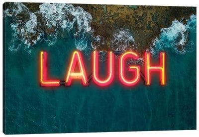 Laugh Neon Canvas Art Print