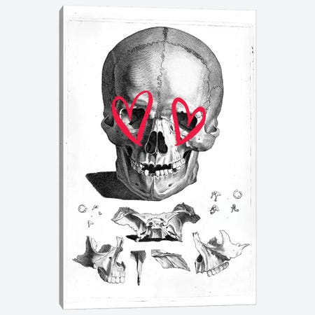 Skull Heart Eyes Canvas Print #IDR57} by Ink & Drop Canvas Print