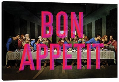Bon Appetit Pink Canvas Art Print