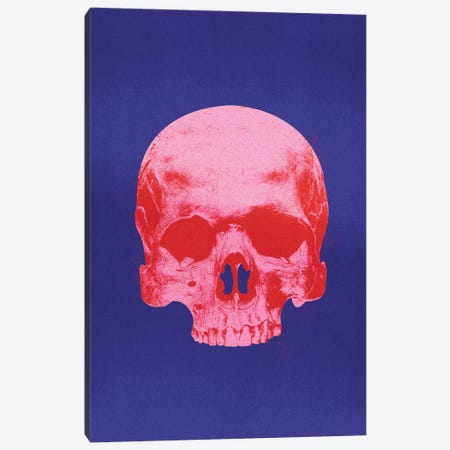 Popart Skull Blue And Red Canvas Print #IDR83} by Ink & Drop Canvas Print