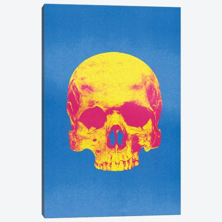 Popart Skull Blue And Yellow Canvas Print #IDR84} by Ink & Drop Canvas Art