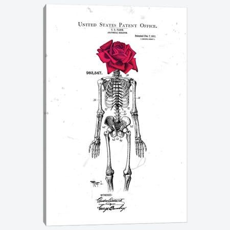Skeleton Rose Head White Canvas Print #IDR89} by Ink & Drop Canvas Print