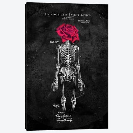 Skeleton Rose Head Black Canvas Print #IDR90} by Ink & Drop Canvas Wall Art