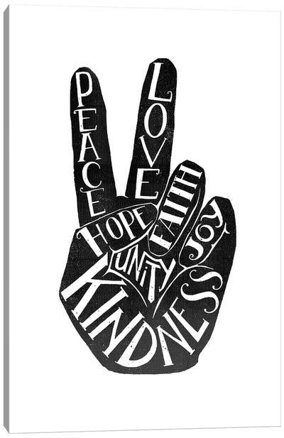 Peace Fingers Type Canvas Art Print