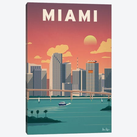 Miami Downtown Canvas Print #IDS109} by IdeaStorm Studios Art Print