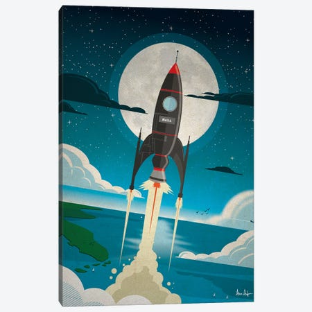 Rocket To The Moon Canvas Print #IDS26} by IdeaStorm Studios Art Print