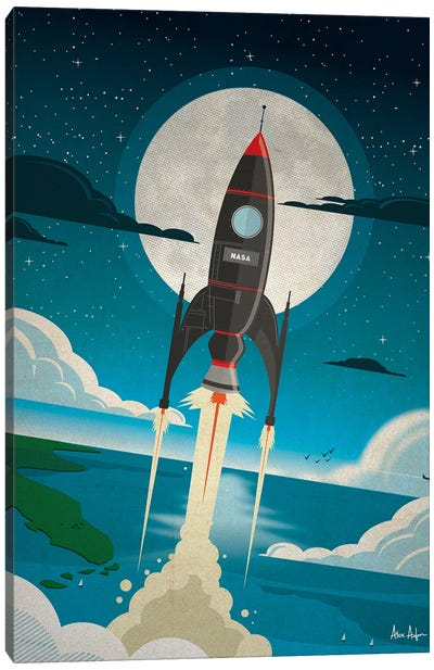 Rocket To The Moon Canvas Art Print