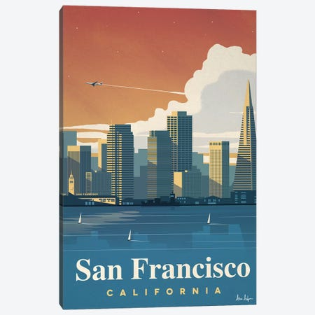 San Francisco Skyline Canvas Print #IDS28} by IdeaStorm Studios Canvas Wall Art