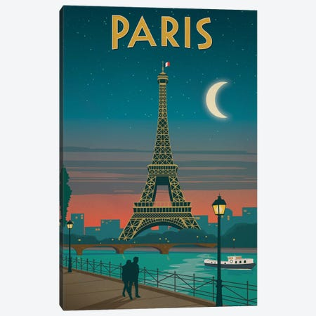 Paris Moonlight Canvas Print #IDS51} by IdeaStorm Studios Art Print