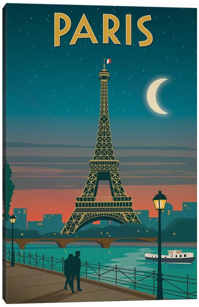 Paris Moonlight Canvas Art Print