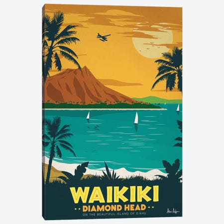 Waikiki Canvas Print #IDS77} by IdeaStorm Studios Canvas Artwork