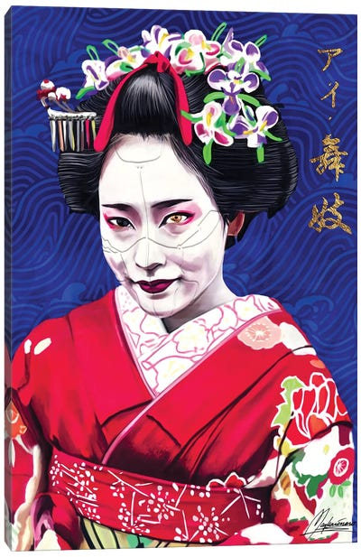 AI Geisha - Blue AI Canvas Art Print
